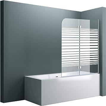 Cortona 1408S - Mampara de cristal para bañera, 117 x 141 cm, protección de la pared derecha, incluye recubrimiento y bisagras: Amazon.es: Bricolaje y herramientas