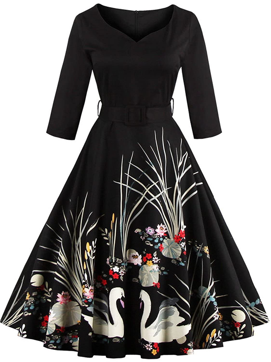 99065ae7e1107 Neckline & Sleeve : O Neck, half sleeves , midi tea Length This vintage  dress features floral prints, perfect for summer or fall