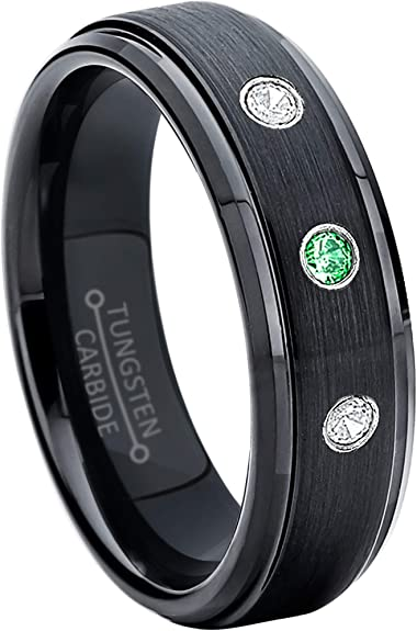 January Birthstone Ring Jewelry Avalanche 0.21ctw Garnet 3-Stone Tungsten Ring 6MM Polished Pipe Cut Comfort Fit Tungsten Carbide Wedding Band