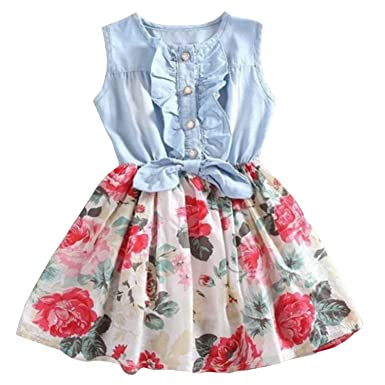 9c9658c362f Avidqueen Adorable Little Girls Denim Floral Print Skirt Summer Sleeveless  Dresses (1