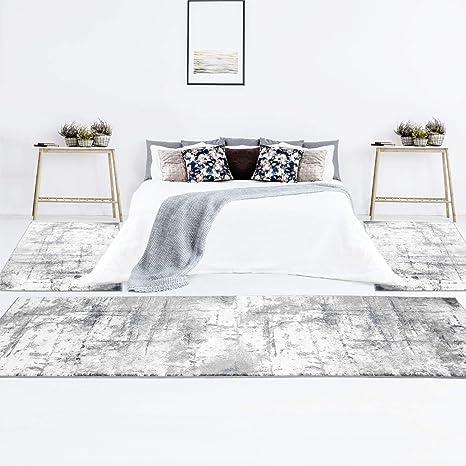 Bettumrandung Flachflor im Vintage-Look, Modern, Abstrakt, 3-teiliges  Läuferset in Grau Blau für Schlafzimmer
