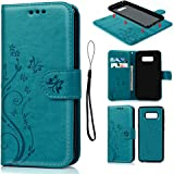 S8 Case Cover, Galaxy S8 Case Wallet Embossed Butterfly Florals PU Leather Flip Case Detachable TPU Cover Magnetic Wallet with Card Slots & Wrist Strap Case for Samsung Galaxy S8 - Blue