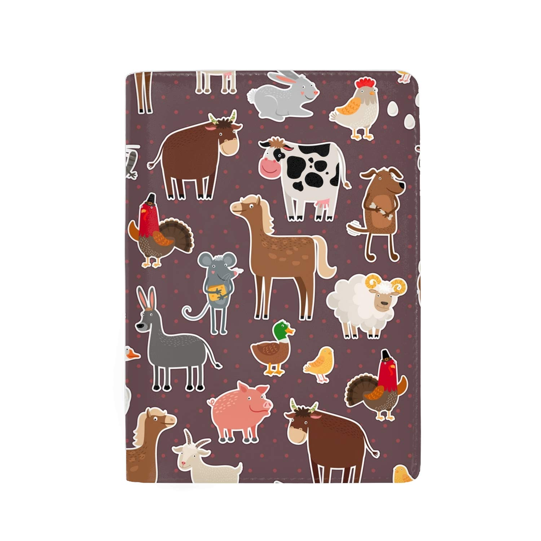 Leather Passport Cover Passport Holder Case for Men /& Women Geometric Silhouettes Animals Goat Ibexes