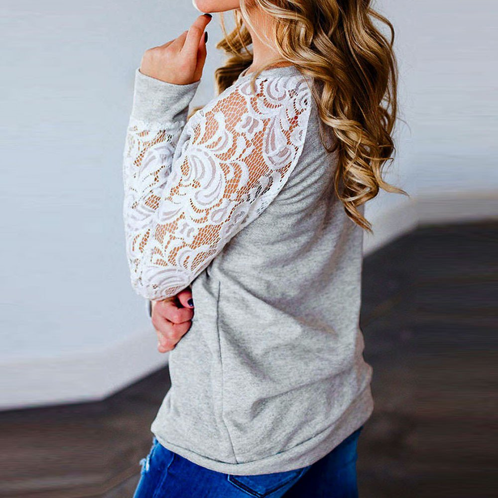 Women Fashion Lace Floral Long Sleeve Splicing O-Neck T-Shirt Blouse Tops Ladies Plain Jumpers Top Dressy