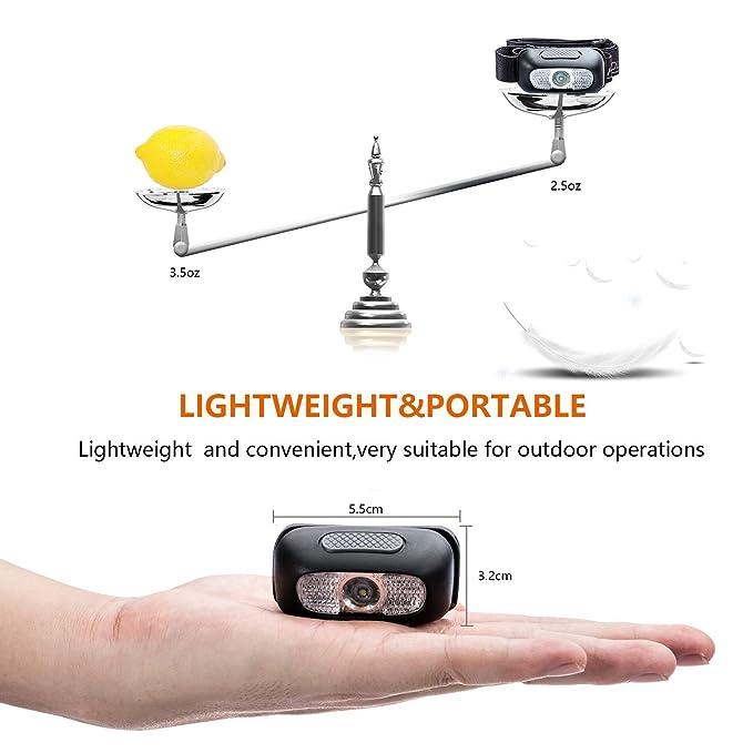Perfekt f/ürs Camping 120LM USB Wiederaufladbare LED Kopflampe 1000mAH Batterien inklusive USB Kabel wasserdicht Outdoor und Sport 5 Lichtmodi LED Stirnlampe