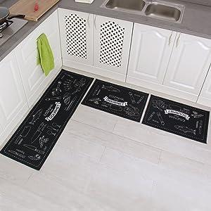 """Carvapet 3 Piece Non-Slip Kitchen Mat Rubber Backing Doormat Runner Rug Set, Cozinha Design (Navy 15""""x47""""+15""""x23"""")"""