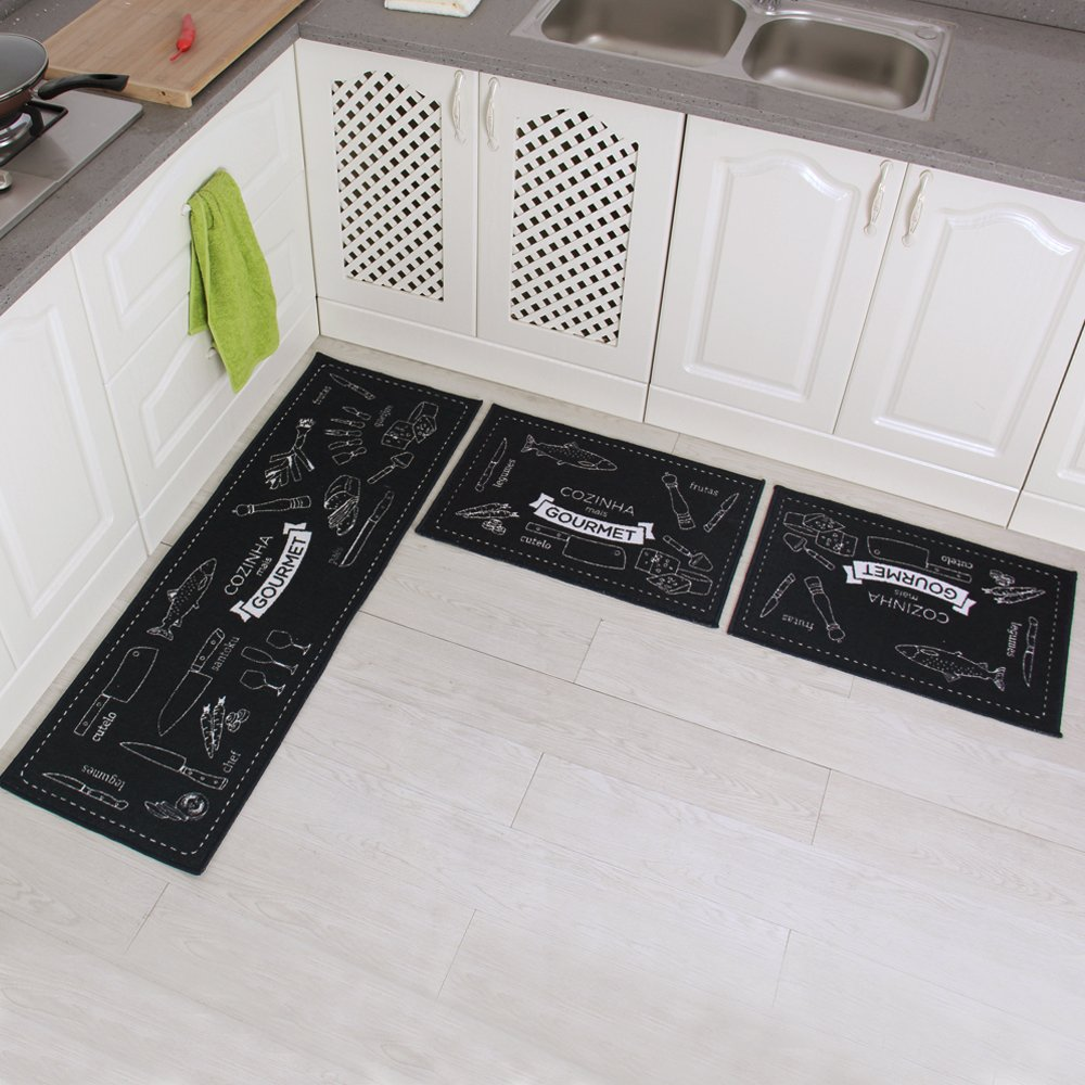 b ie UTF8&node decorative kitchen floor mats Carvapet 3 Piece Non Slip Kitchen Mat Rubber Backing Doormat Runner Rug Set Cozinha Design Black 15 x47 15 x23