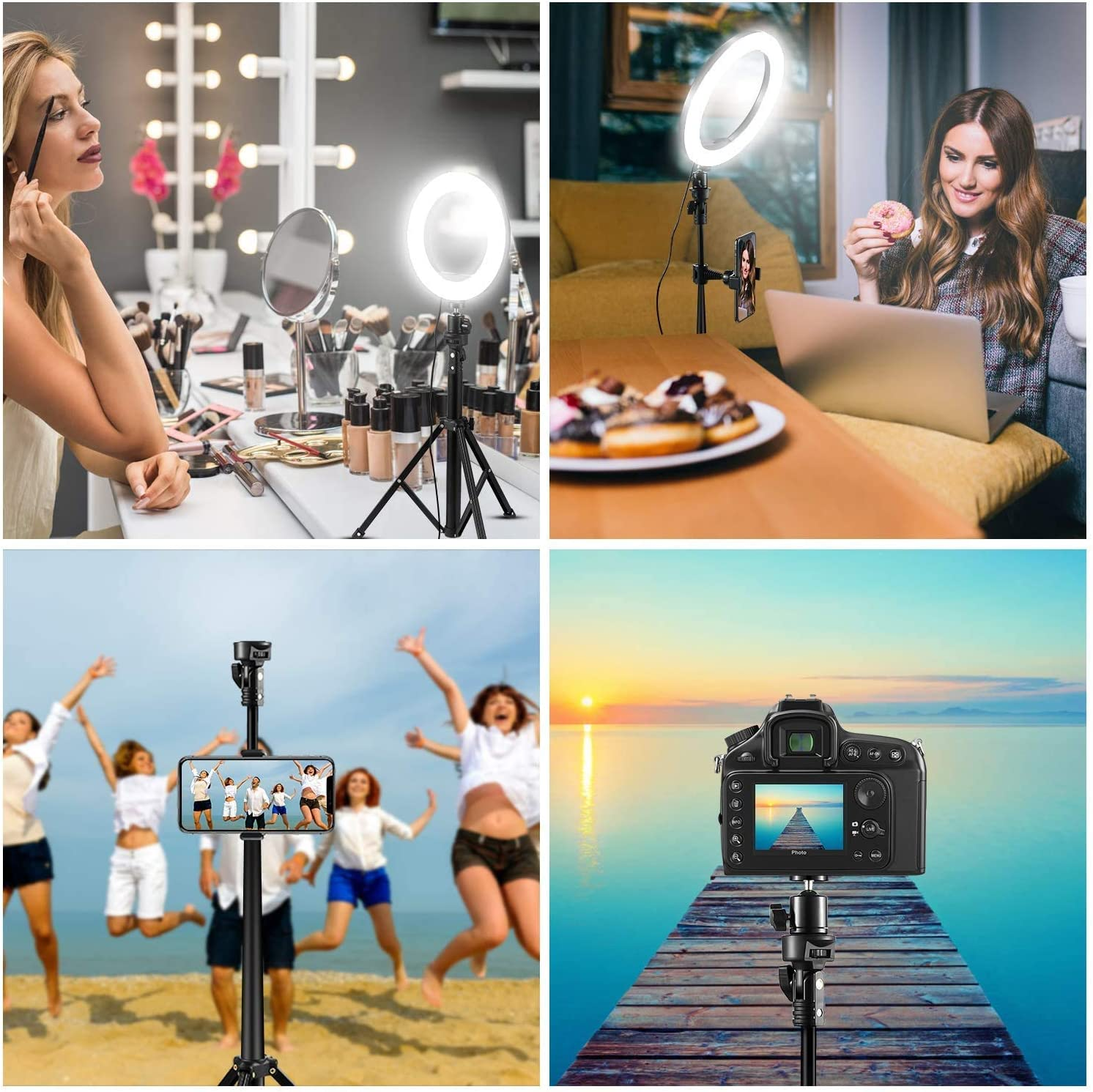 for Live Stream//Makeup//Take Photo//Vlog//YouTube Video Camera Light Dimmable LED Lighting Filming Equipment 8 Selfie Ring Light with Tripod Stand /& Cell Phone Holder Studio Light