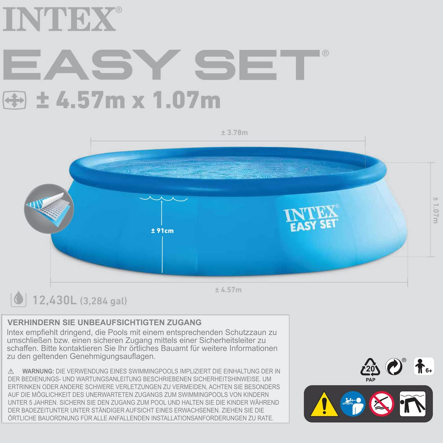 Intex 457 x 107 cm Easy Pool 289003 incl. Bomba de filtro ...