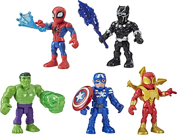 Super Hero Adventures Playskool Heroes Marvel 5-Inch Action Figure 5-Pack, Includes Captain America, Spider-Man, 5 Accessories (Amazon Exclusive)