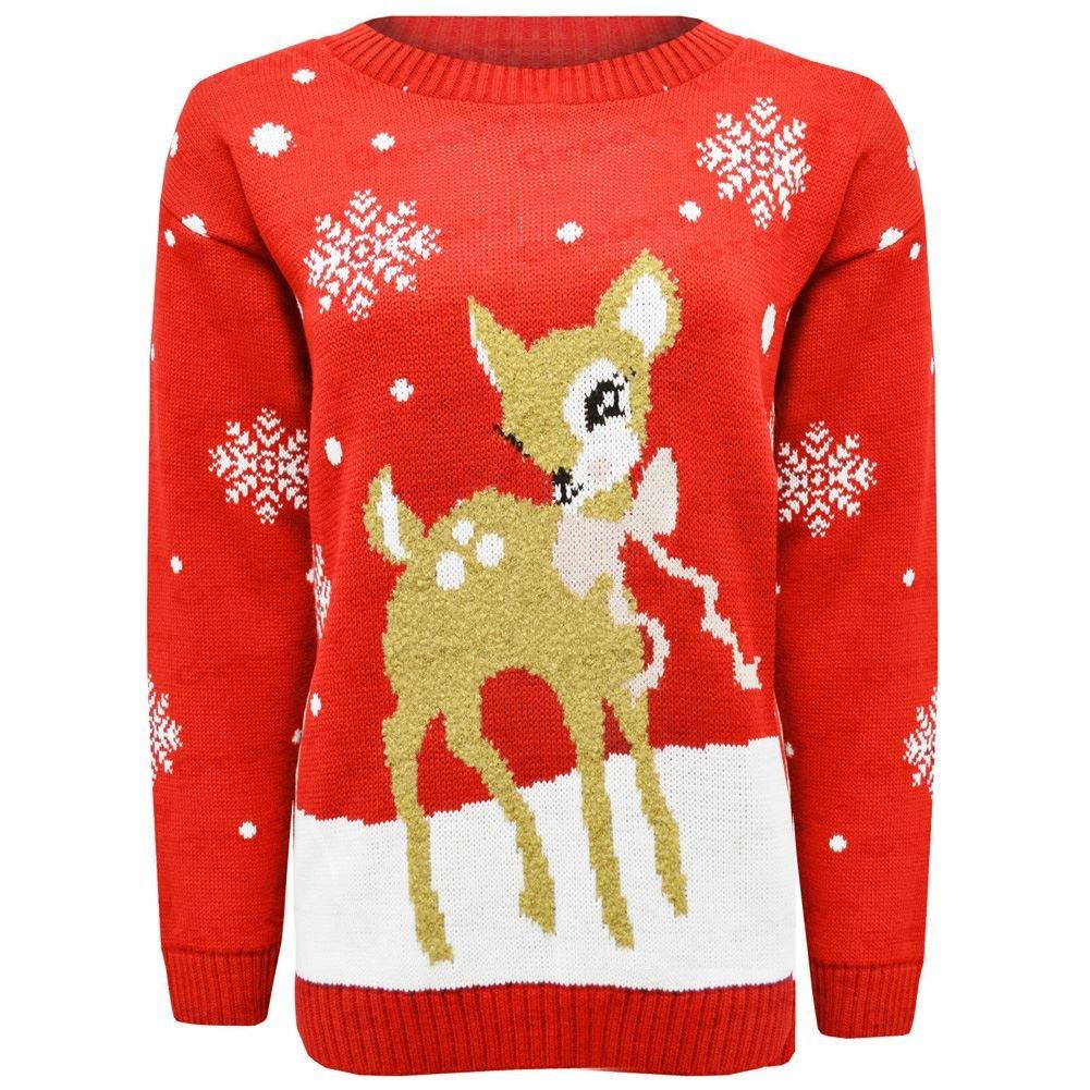 Janisramone bambini Ragazze Ragazzo Nuovo Natale Bambino Cervo Bambi novità Natale a maglia saltatore Maglione cima UK