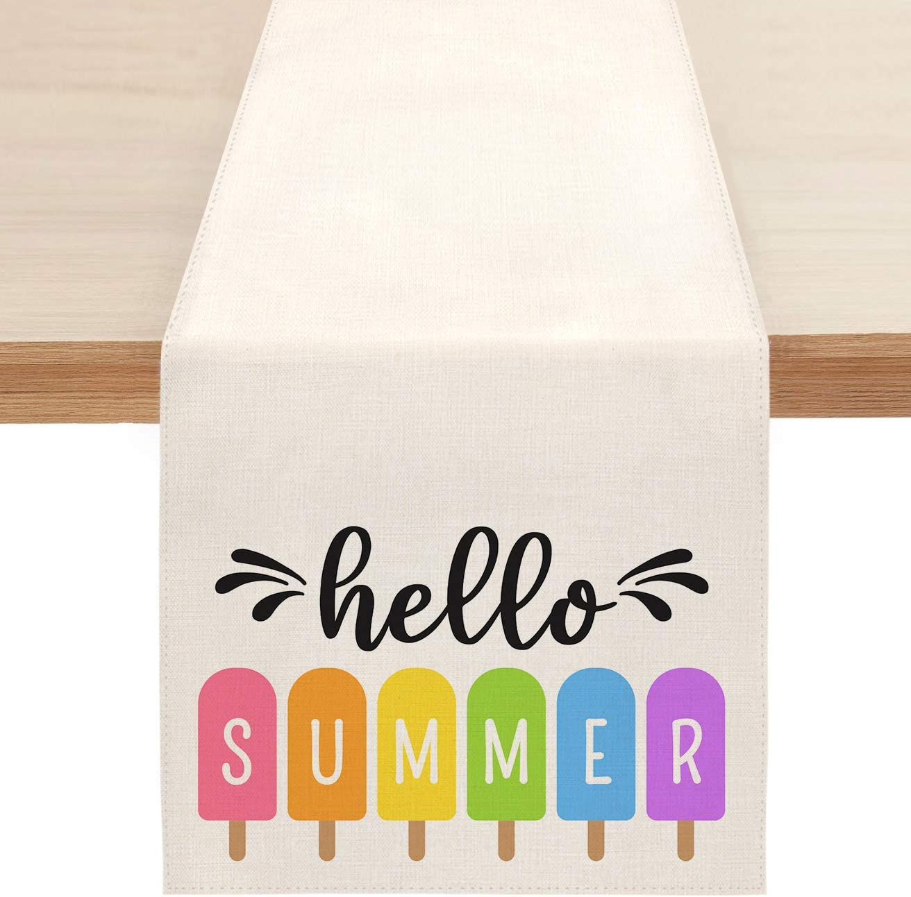 Sambosk Hello Summer Popsicles Table Runner, Spring Colorful Ice Cream Table Runners for Kitchen Dining Coffee or Indoor and Outdoor Home Parties Decor 13 x 72 Inches