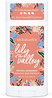 product image for Schmidt's Aluminum Free Natural Deodorant for Women and Men, Lily of the Valley for Sensitive Skin with 24 Hour Odor Protection, Certified Cruelty Free, Vegan Deodorant, 3.25 oz