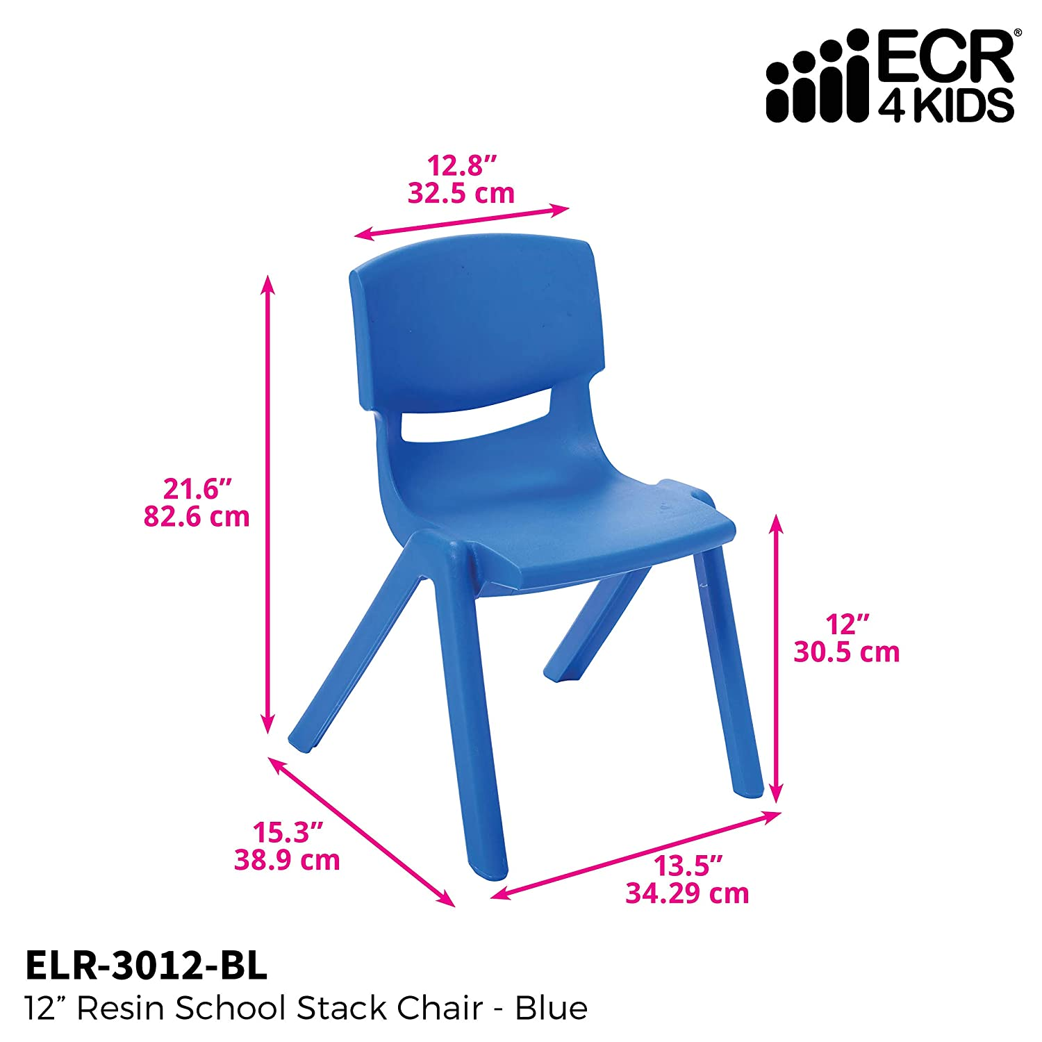 Ecr4Kids 12 Inch Plastic Stackable Classroom Chairs, Indoor/Outdoor Resin Stack Chairs für Kids, Blue (10-Pack)