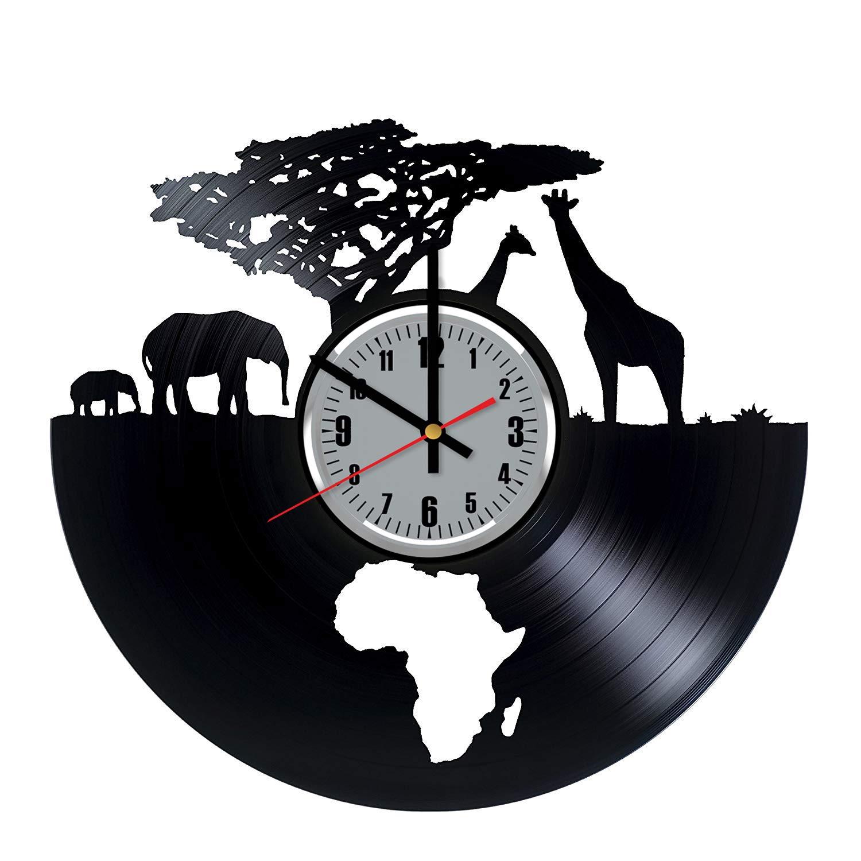 Art League House Vinyl Clock Africa - Safari Animals Vinyl Record Wall Clock - South African Animal Figurines Handmade Decor for Home (Grey & Numbers)