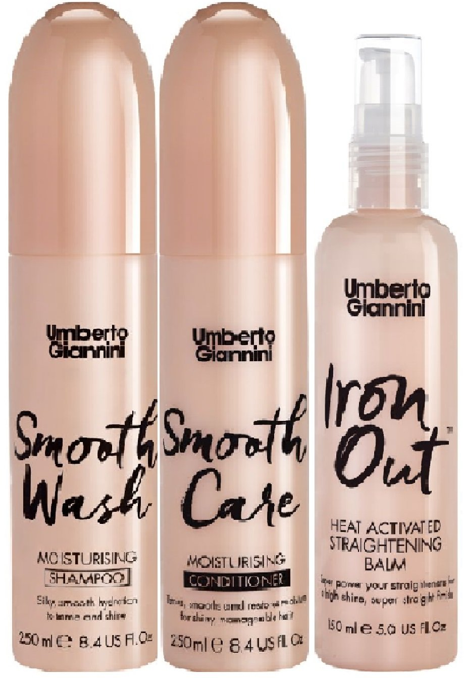 (3 PACK) Umberto Giannini Smooth Wash Moisturising Shampoo x 250ml & Umberto Giannini Smooth Care Moisturising Conditioner x 250ml Umberto Giannini Iron Out Heat Activated Straightening Balm x 150ml