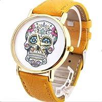 Fashion mujer Diseño de calaveras de piel sintética reloj de pulsera esfera redonda relojes