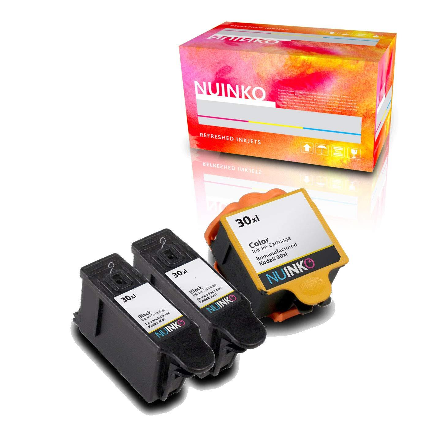 NUINKO 3 Pack Compatible Kodak 30 Ink Cartridges Black and Color for Kodak ESP C310 ESP 3.2 ESP C315 ESP C110 ESP Office 2170 ESP Office 2150 HERO 5.1 ...