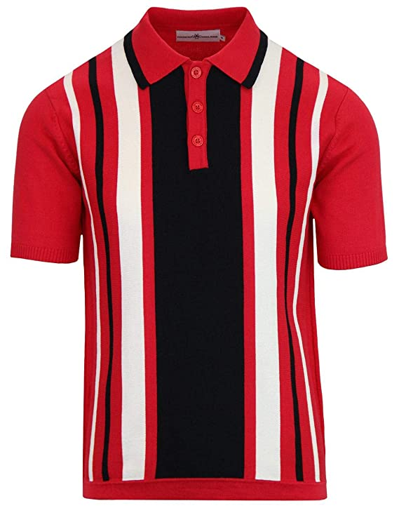Vintage Shirts – Mens – Retro Shirts Madcap England Folklore Mens Mod Stripe Knitted Polo in RED £34.99 AT vintagedancer.com