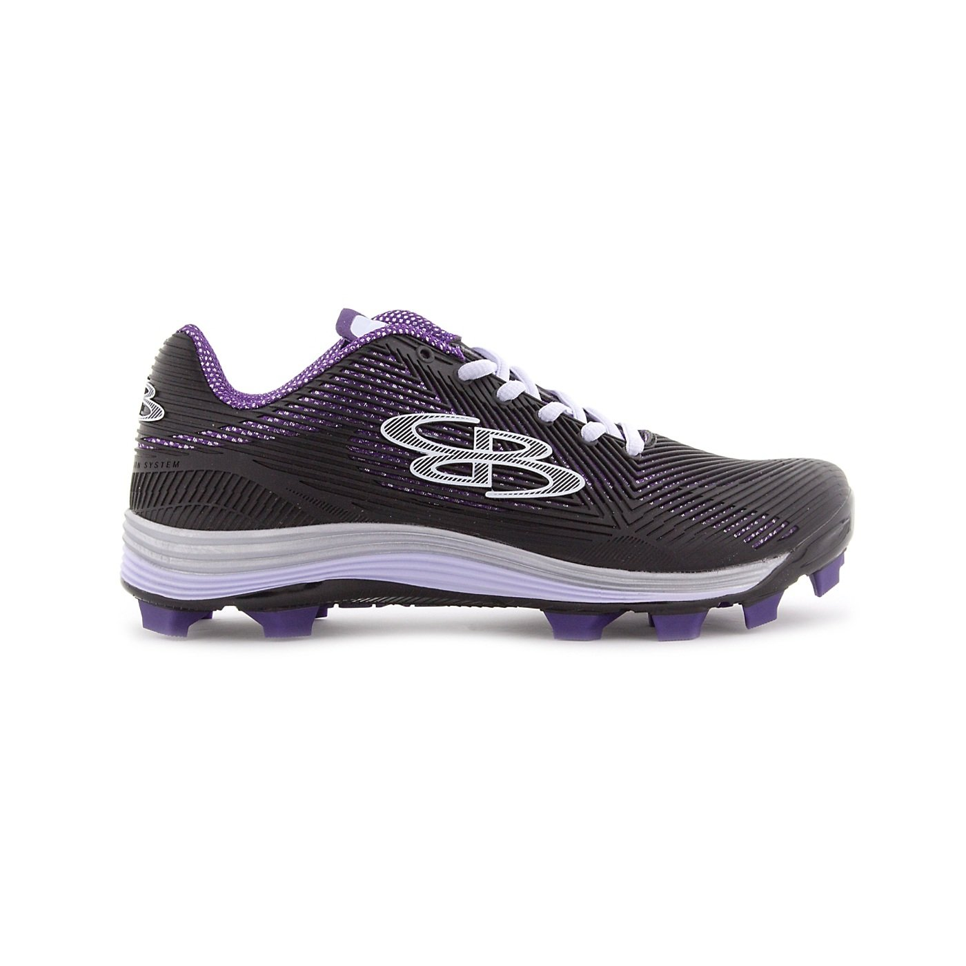 Boombah Women's Spotlight Molded Cleat Black/Purple - Size 6 by Boombah