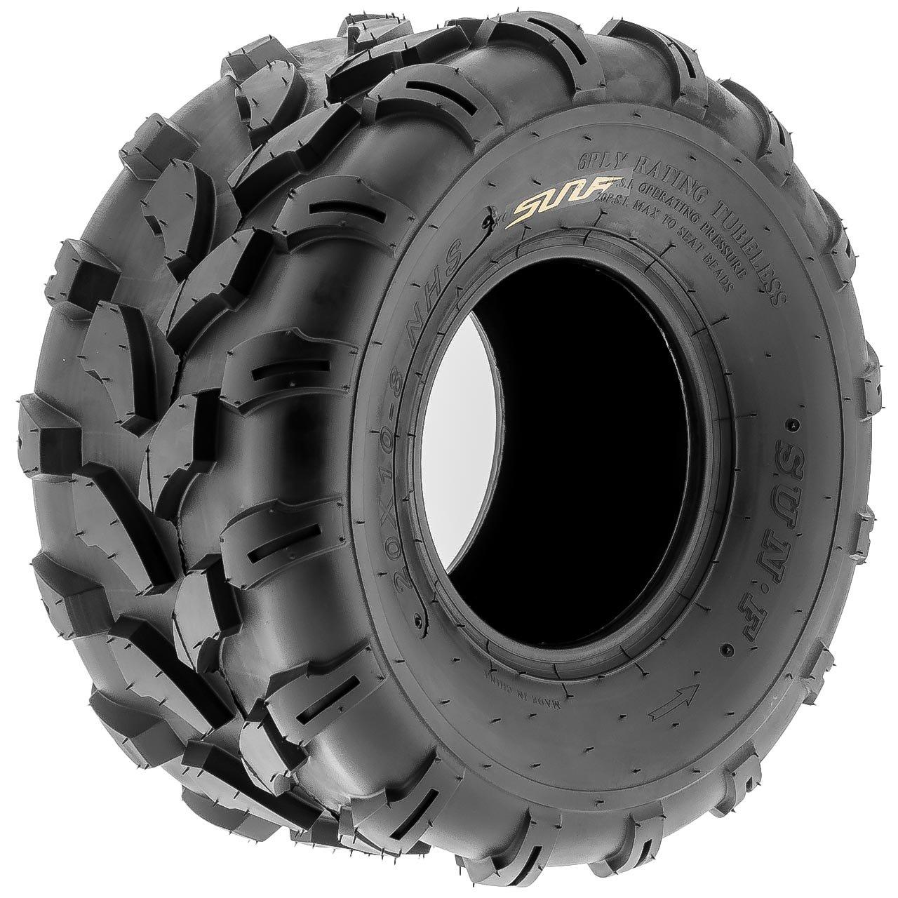 SunF A003 ATV/UTV/Lawn-Mowers Off-Road Tire 20x10-8, 6 PR, Directional Knobby Tread