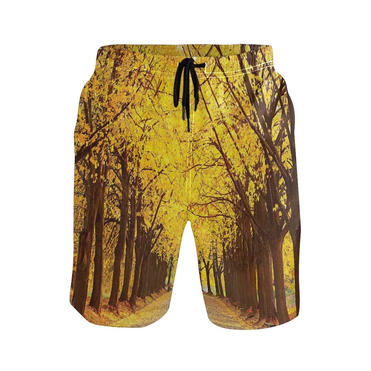 COVASA Mens Summer ShortsBotanical Hawaii Jungle Pattern with Palm Leaves Exot
