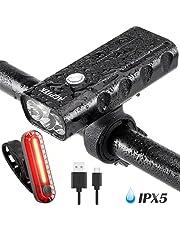 AGPTEK 2600mAh Luz Bicicleta Recargable Impermeable IPX65, Linterna Bicicleta con Luz Delantera y Luz Trasera para Carretera y Montaña - Seguridad para la Noche