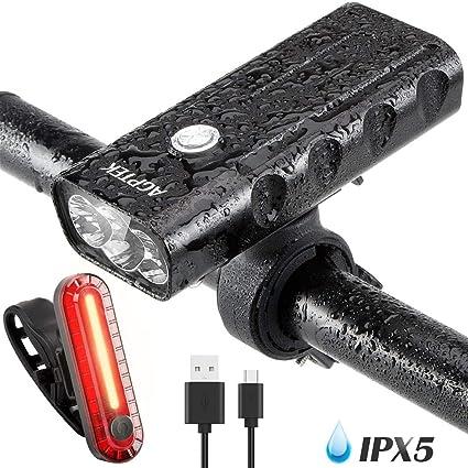 AGPTEK 2600mAh Luz Bicicleta Recargable Impermeable IPX65 ...
