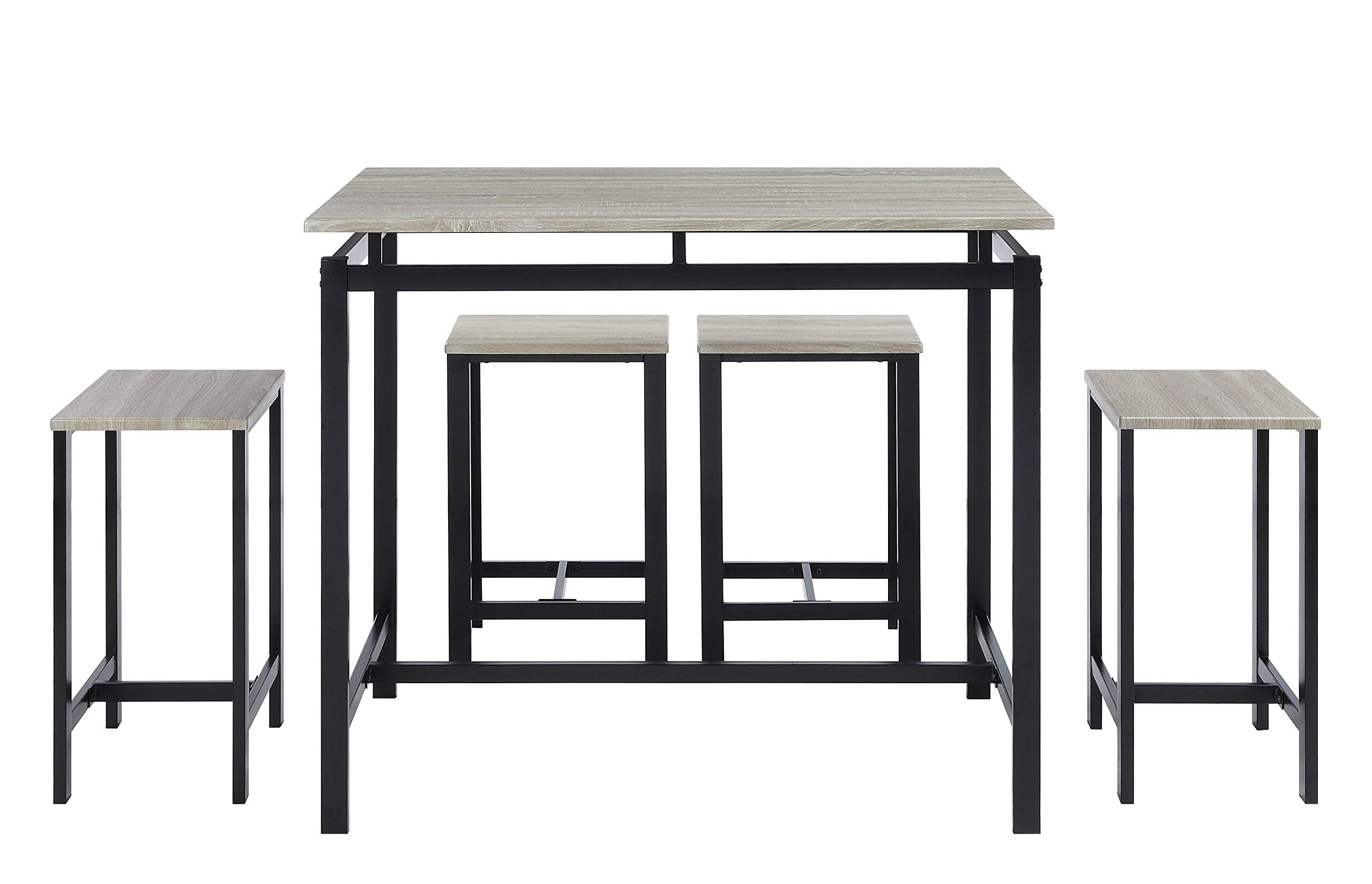 Abington Lane Kitchen Table Set with 4 Stools - Versatile, Tall, Modern Table Set for Kitchen, Dining Room, and Living Room (Washed Oak) by Abington Lane