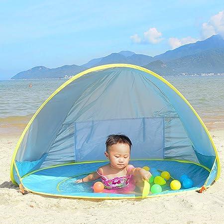 Tienda de Playa para el Bebé NHSUNRAY Instantáneas Refugio con Sistema Pop-up con Mini Piscina Desmontable Protección UV para la familia infantil ...
