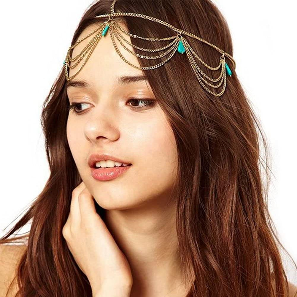 Gudeke Boh/émienne Cha/îne Glands Turquoise Pompon Bande de Cheveux Bandeau Unique