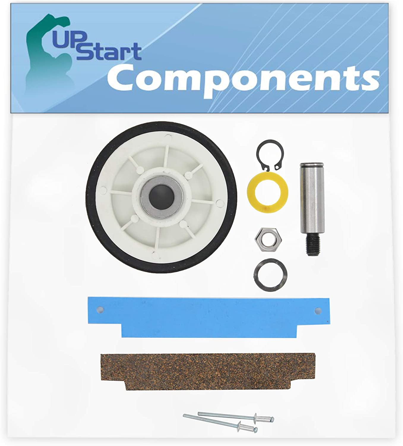 12001541 Drum Support Roller Kit & 306508 Bearing Kit Replacement for Maytag MDE4000AYQ Dryer - Compatible with 303373 Drum Roller Wheel & 306508 Tumbler Bearing Kit Front Glide Rivets and Pad