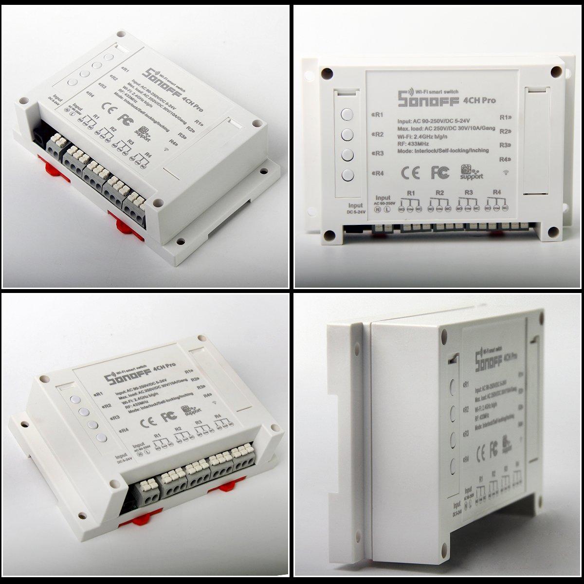 pour  Alexa ANRIS Sonoff 4CH Pro WiFi Smart Switch T/él/écommande pour Smart Home 4 Canaux Inching//Auto-Verrouillage//Interverrouillage WiFi RF Commutateur Intelligent