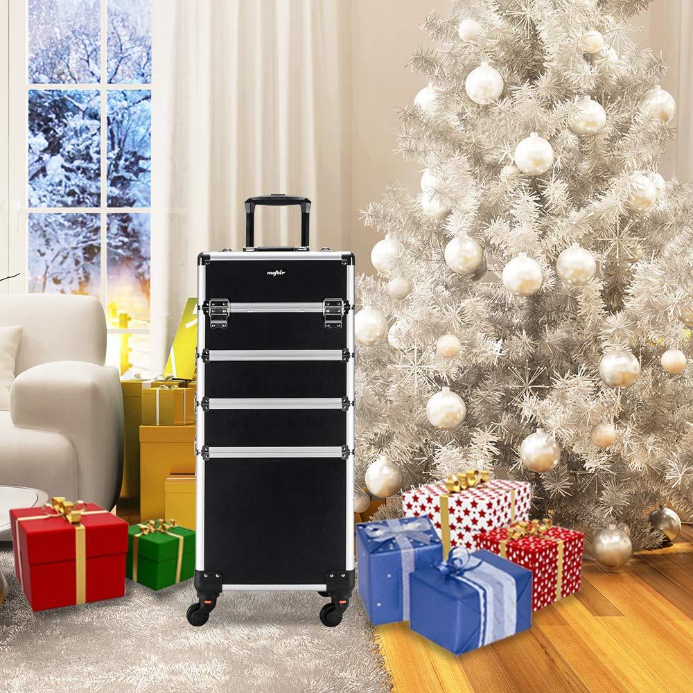 Mefeir 4-in-1 Rolling Makeup Train Case,4 Removable Wheels w/Lift Handle+Lockable Key,Aluminum Trolley Cart Travel Beauty Cosmetic Artist Stylist Organizer Box (Black) by mefeir