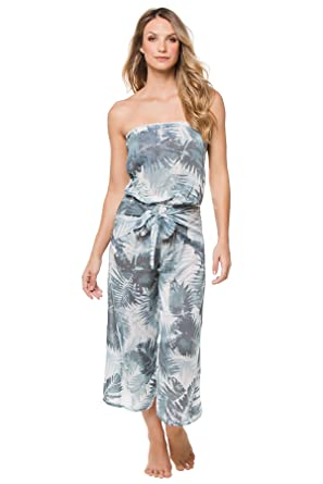 9f8981b12cd4 Surf Gypsy Women s Wovens Jumpsuit Swim Cover up Soft Palm M at ...