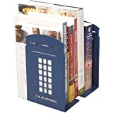 Winterworm Vintage British Style London Telephone Booth Kiosk Decorative Iron Metal Bookends Book End Organizer For Library School Office Desk Study Decoration Perfect Mother's Day Gift (Blue)