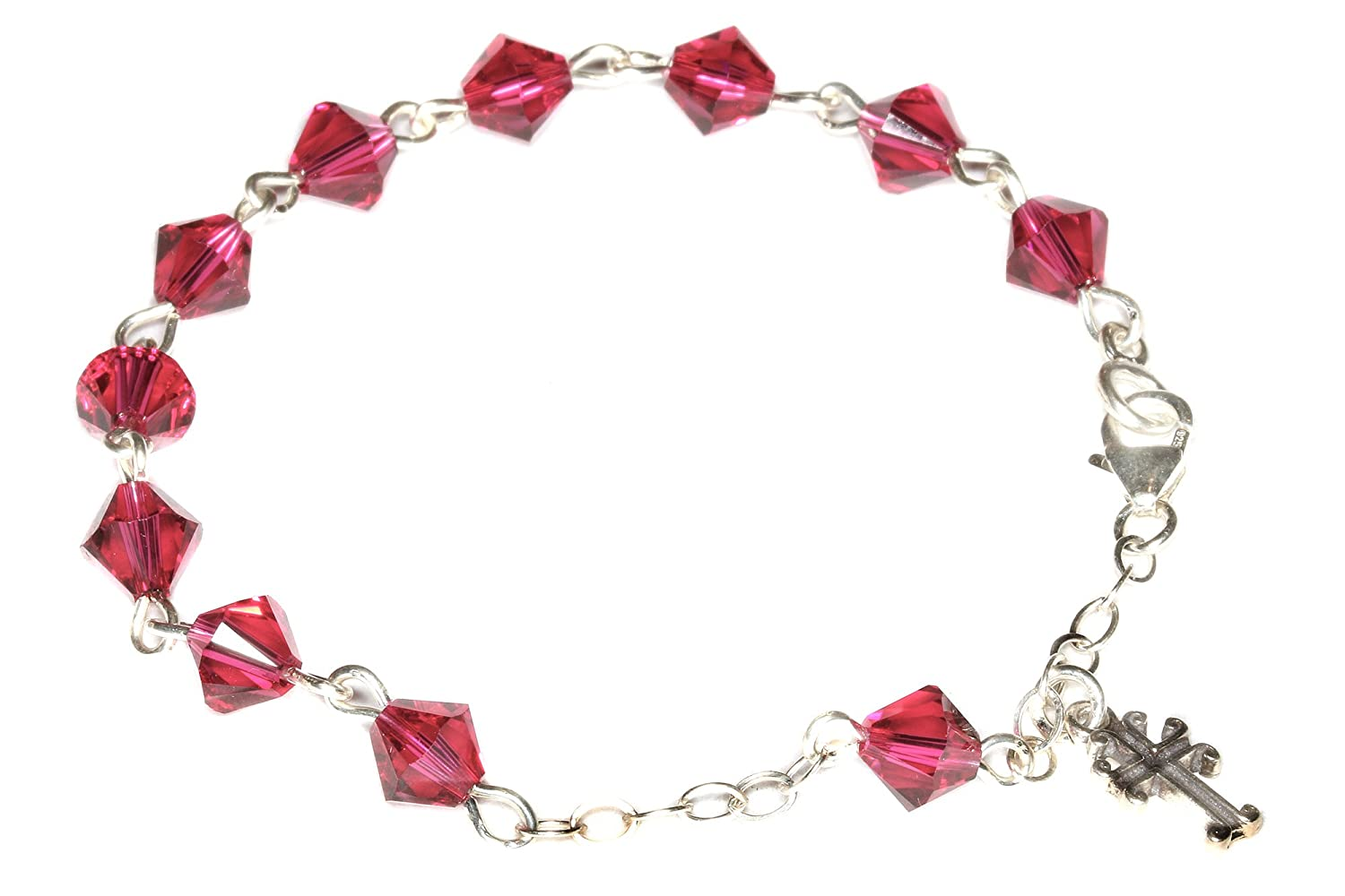 Child Rosary Bracelet made with Ruby Red Swarovski Crystal Elements Communion /& more July