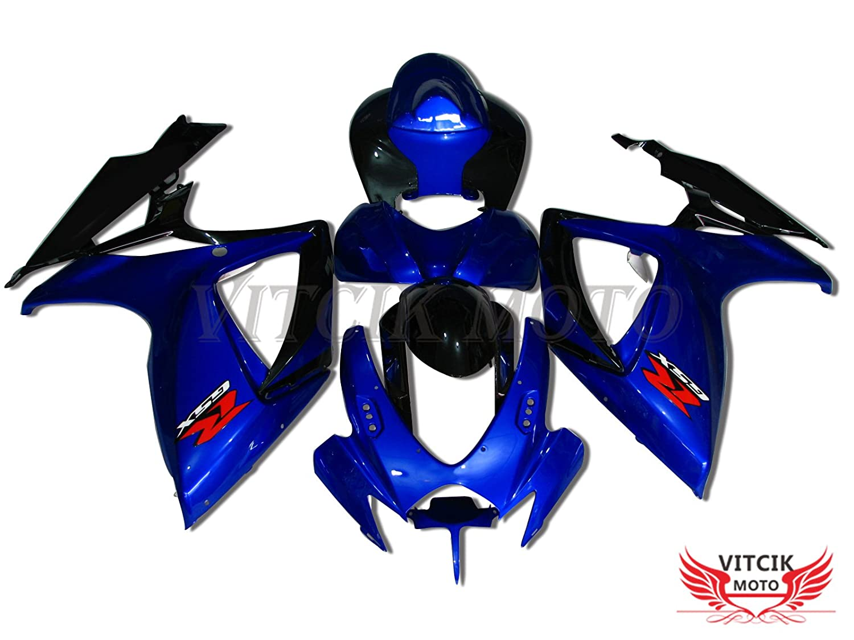 VITCIK (フェアリングキット 対応車種 スズキ Suzuki GSX-R750 GSX-R600 K6 2006 2007 GSXR 600 750 K6 06 07) プラスチックABS射出成型 完全なオートバイ車体 アフターマーケット車体フレーム 外装パーツセット(ブルー & ブラック) A034   B072BGZK7W