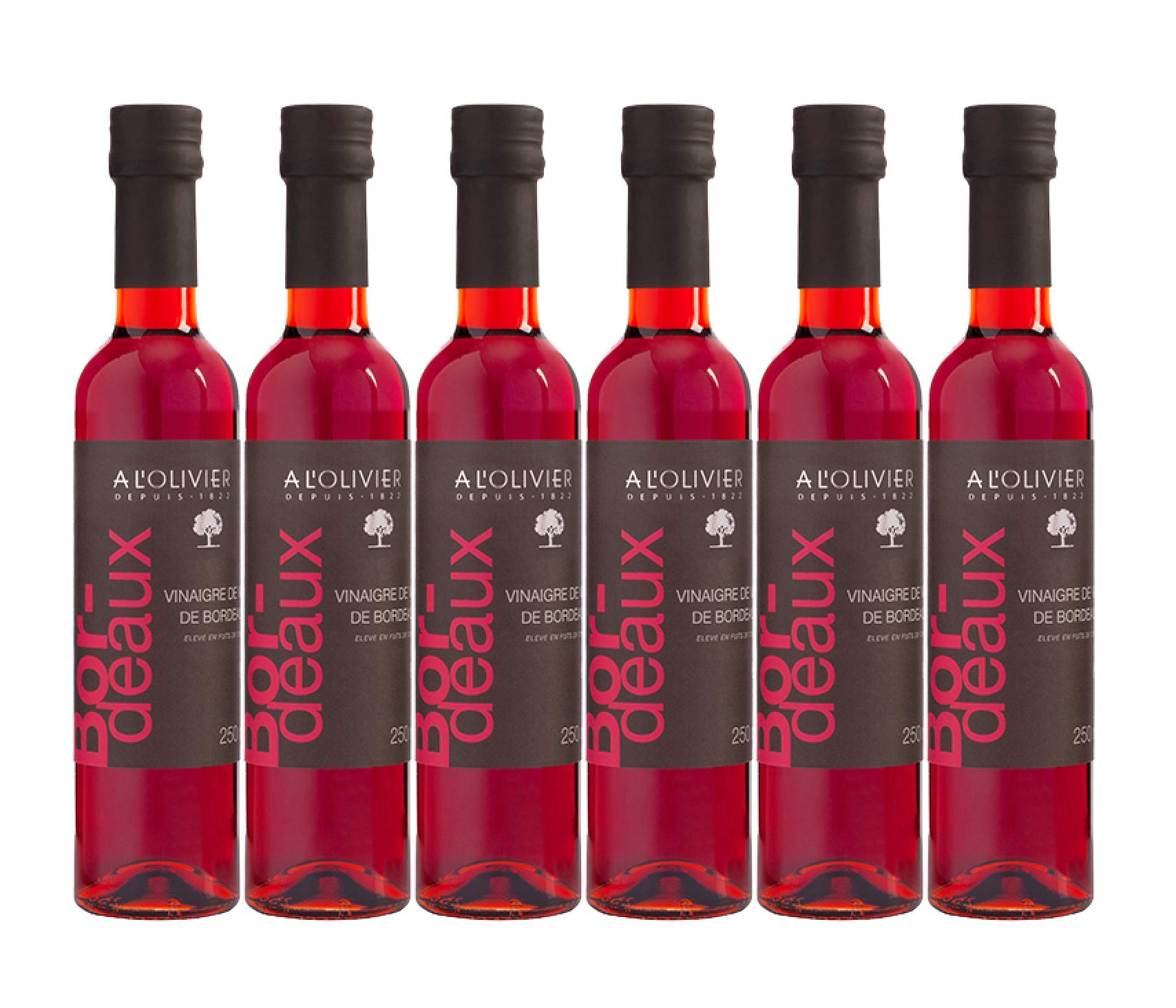 A L'OLIVIER RED WINE VINEGAR FROM BORDEAUX, MADE IN FRANCE - 8.4 Fl Oz   PACK OF 6 by A L'Olivier