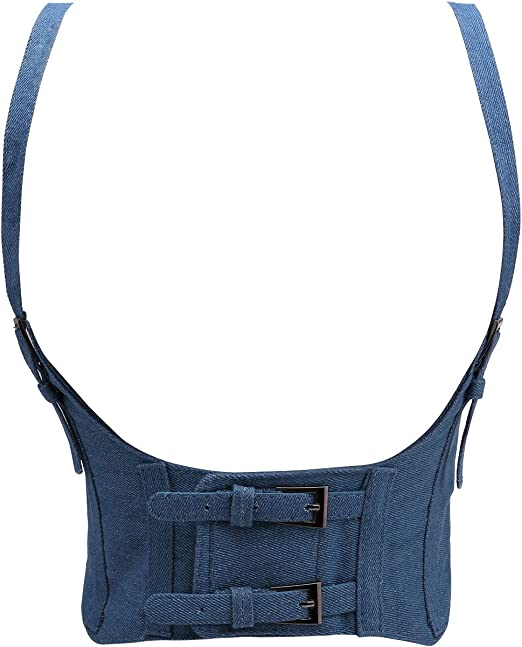 Waist Cincher Corset Buckle Leather Wide Band Elastic Tied Waspie Belt One Size