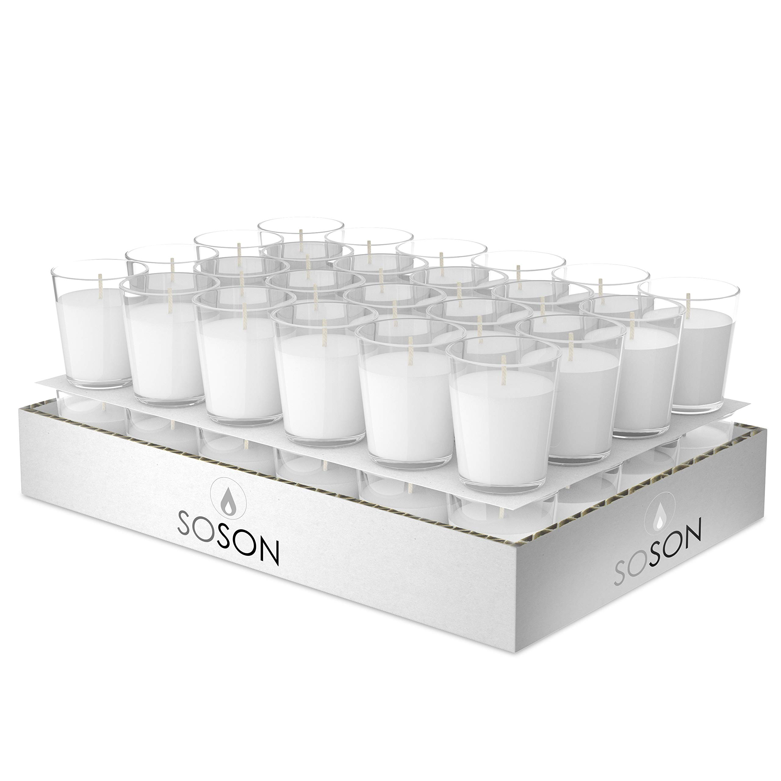 Simply Soson 48 Unscented Votive Candles in Glass | Wax Filled White Candles in Glass | 15 Hour Burn Time Votive Candles Bulk | Improved Packaging (48 Pack) Code 2274 by Simply Soson