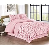 Chezmoi Collection Ella 2-piece Waterfall Ruffle Duvet Cover Set (Twin, Pink)