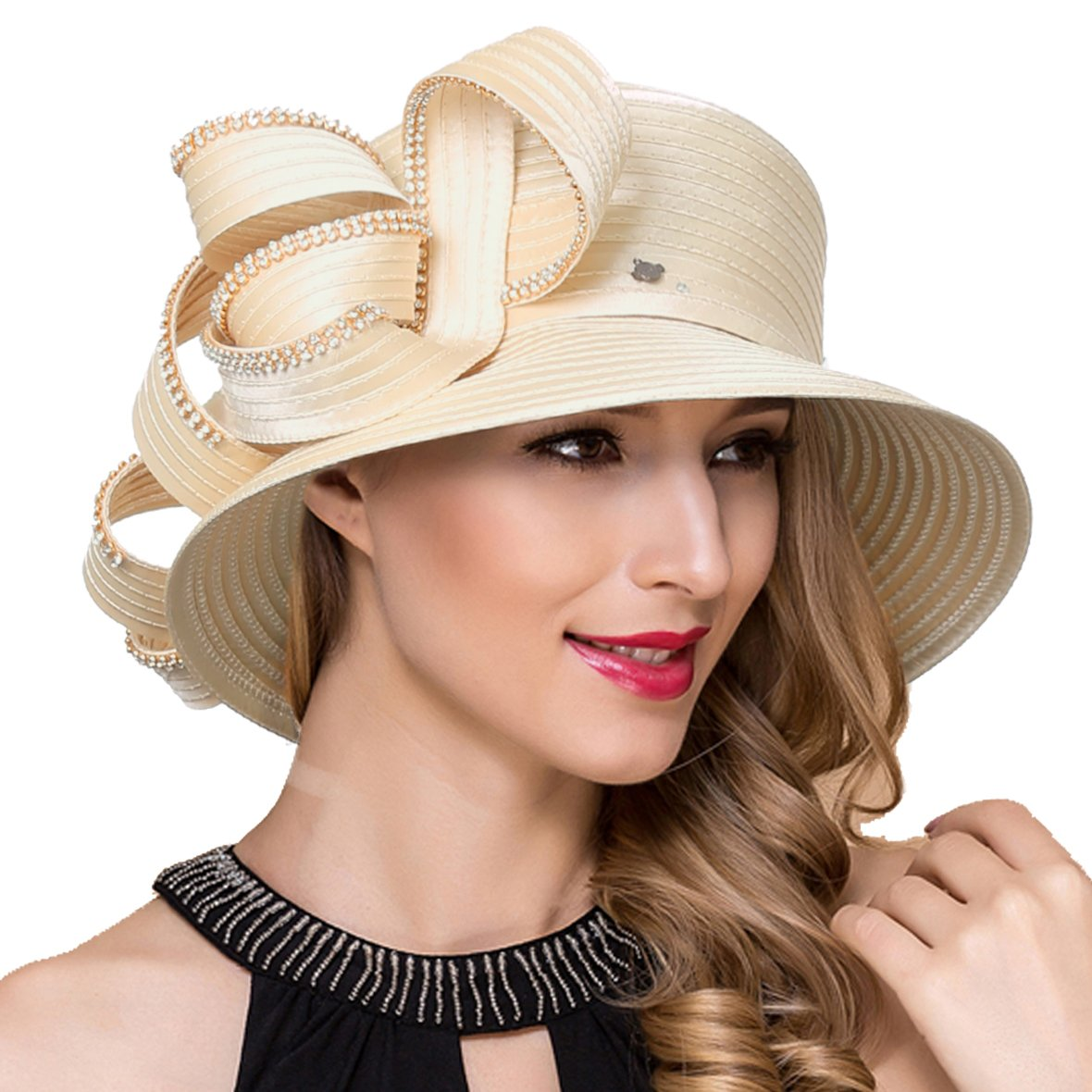 Lady Church Derby Dress Cloche Hat Fascinator Floral Tea Party Wedding Bucket Hat S051 (SD708-Apricot)