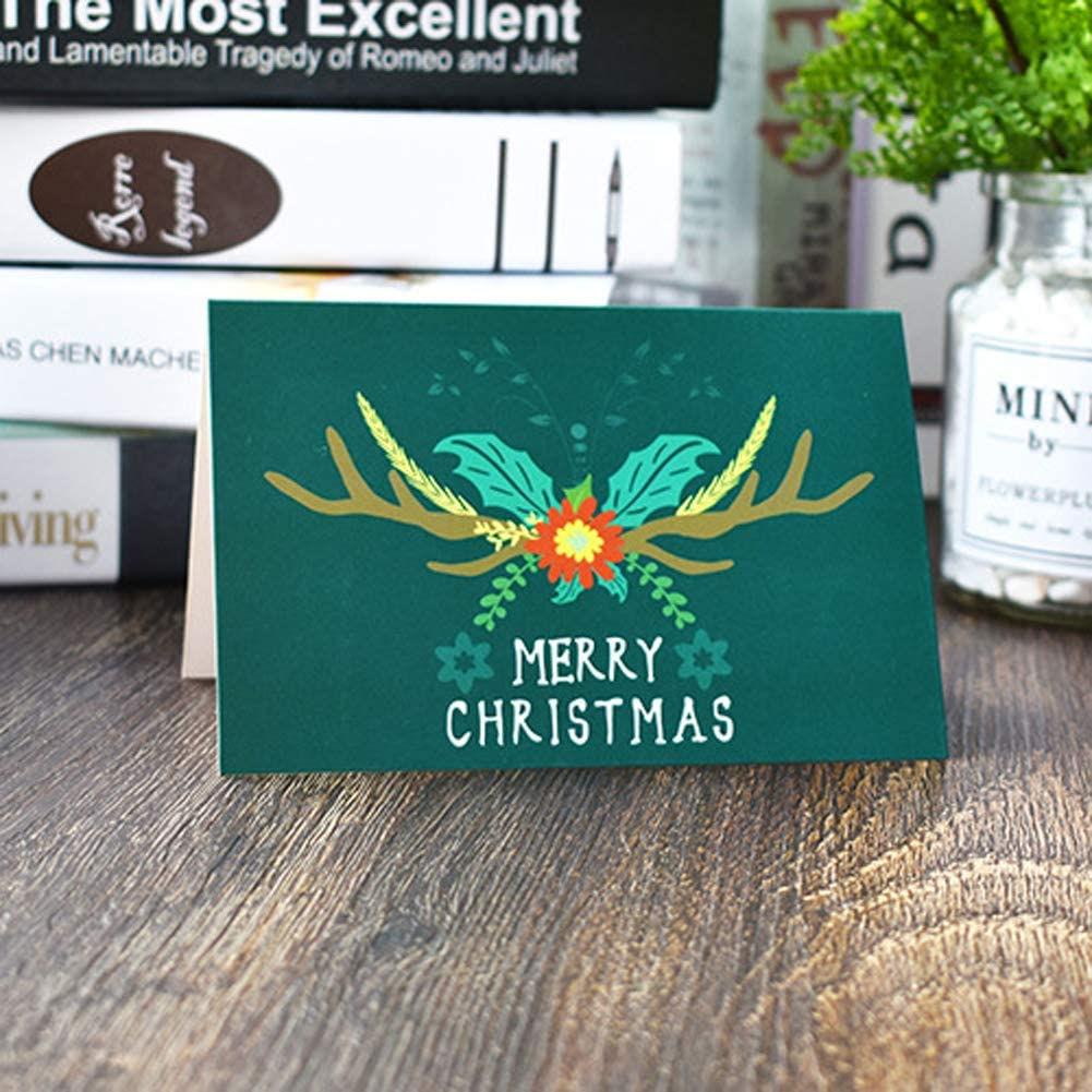 enveloppes incluses clients carte de v/œux de No/ël pour parents 24 cartes Merry Christmas avec 48 autocollants de No/ël amis