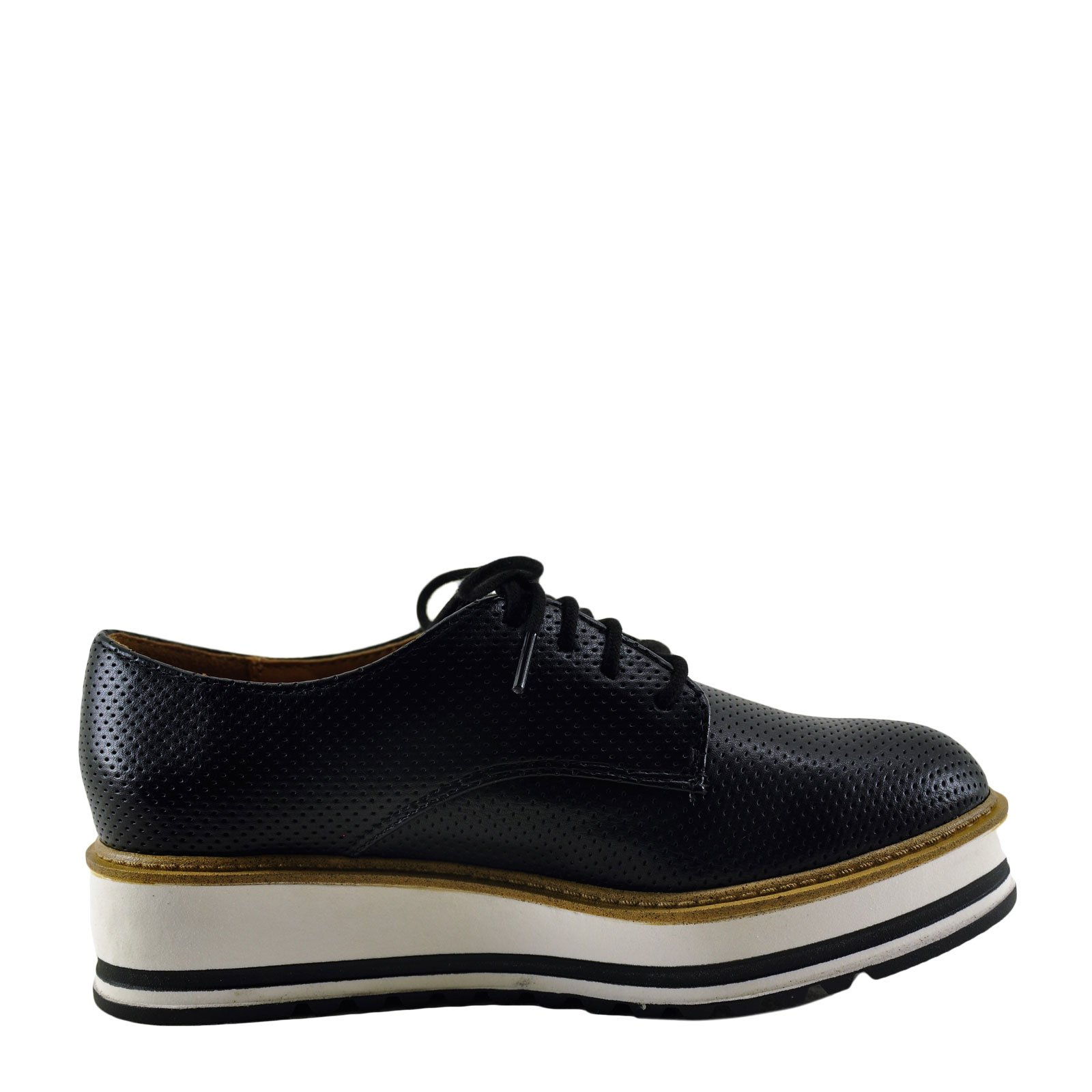 Soda Cupcake Womens Platform Lace Up Perforated Oxfords (8, Black)