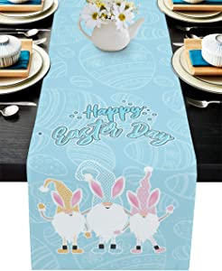 YEHO Art Gallery Cotton Linen Table Runners,Blue Style Cute Gnome Happy Easter Day Tablecovers Table Setting Decor for Garden Wedding Parties Indoor Outdoors Home Dinner Decorations,13x90in