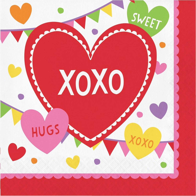 クラブパック192ホワイトとレッドの2層のバレンタインデーテーマ使い捨てLuncheonナプキン6.5