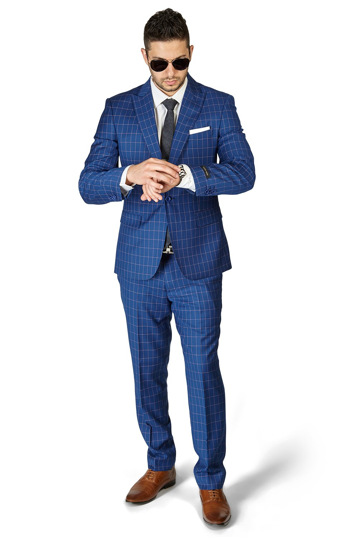 Slim Fit 1 Button Peak Lapel Checkered Windowpane Suit Flat Front Pants 1696 By AZAR