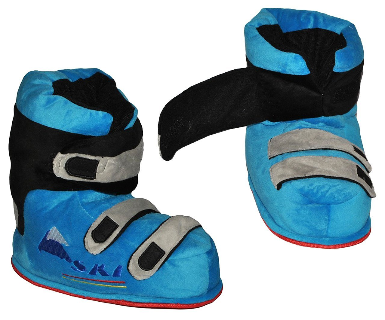 Unbekannt Hausschuhe - als blaue Skischuhe - SUPERWARM - Gr. 23 - 24 - gefütterte Plüschhausschuhe / Boots / Hausstiefel / Hausschuh Stiefel warm Skischuh / für Kinder .. Kinder-land