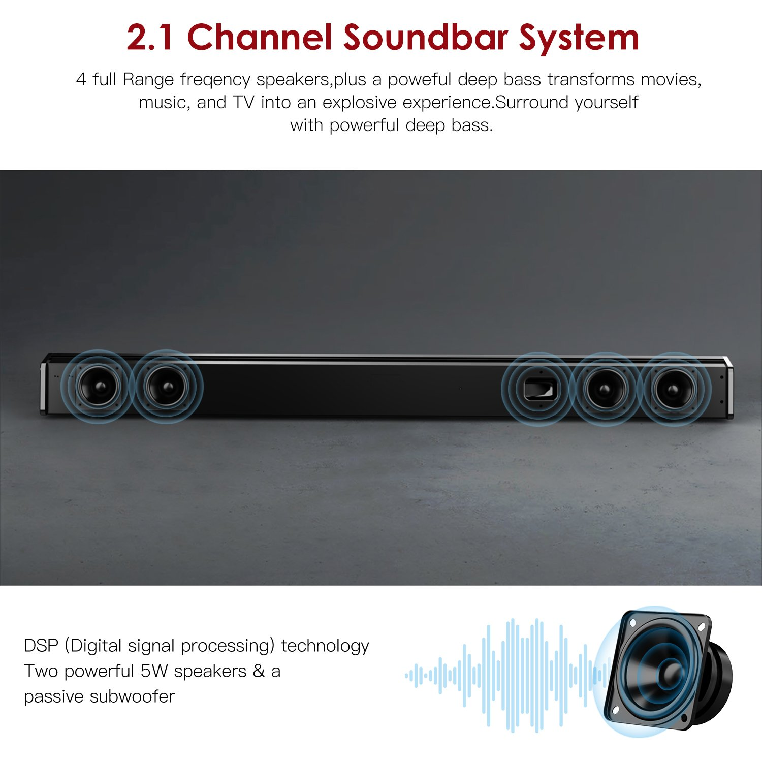 Sound Bar with Subwoofer, ABOX Soundbar for TV 34 Inch 120W 2.1 Channel Speaker, Wireless & Wired Bluetooth 4.2 Sound Bars, Home Theater Surround Sound, Touch and Remote Control, Wall Mountable by GooBang Doo (Image #5)